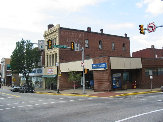 Brimstone Corner (Pittsburgh Street & Crawford Avenue) in Downtown Connellsville - Connellsville, PA