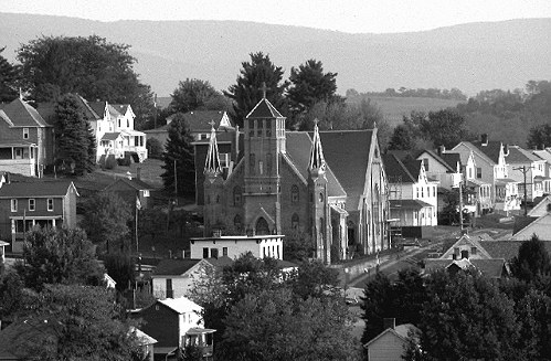 Distant View of St. Joseph's Church - Everson, PA