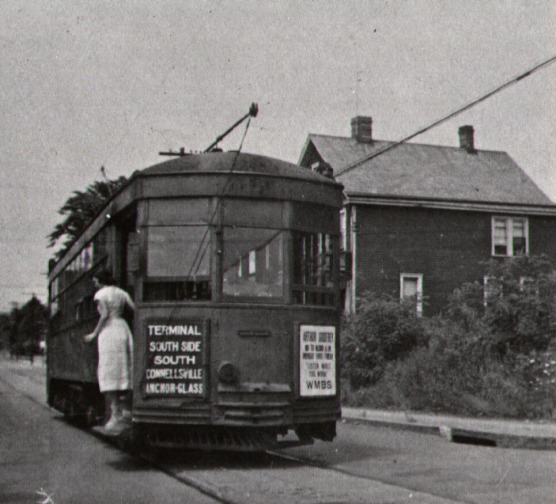 Street Car at Pittsburgh and Wine Streets - South Connellsville, PA