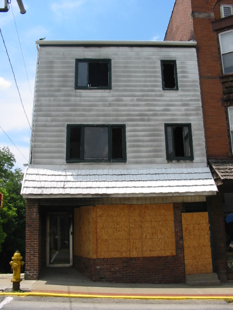 """Burned Out Dwelling Once the """"Comfort Corner"""" Shoe Store - Connellsville, PA"""